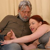 Gray-haired kink sticks his fat dick into his gingerhead daughter's butt