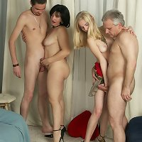 The celebration of daddy�s birthday turns into a foursome family orgy