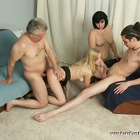 The celebration of daddy's birthday turns into a foursome family orgy